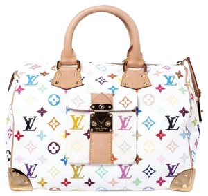 Louis Vuitton Vintage Leather Multicolor Satchel in White
