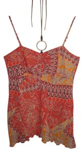 Wallis red-orange-black-white Halter Top