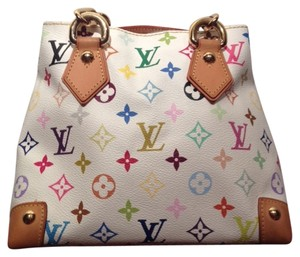 Louis Vuitton Leather Monogram Audra Satchel in White