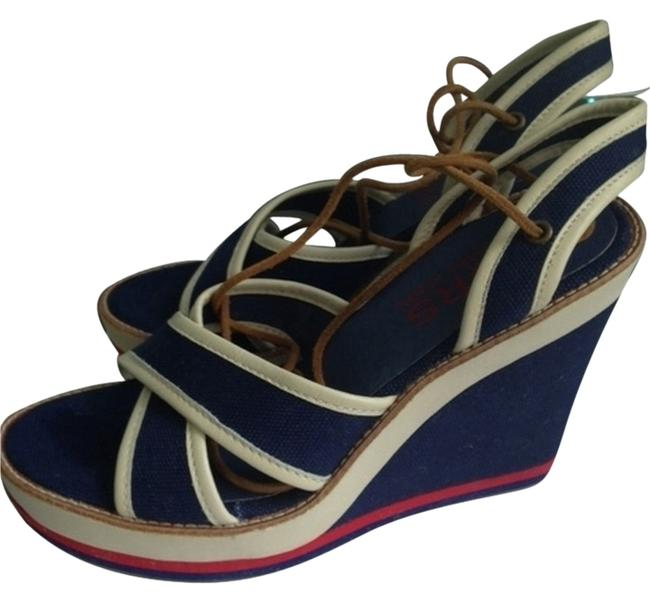 Item - Navy Blue White and Red Wedges Size US 8