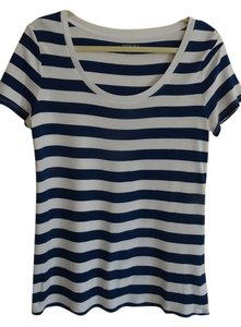 Merona T Shirt Navy blue and white striped
