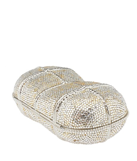Judith Leiber Crystal Evening Chain Silver Clutch