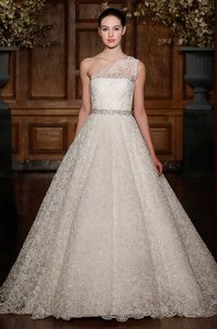 Romona Keveza Pearl Lace Rk 532 Feminine Wedding Dress Size 6 (S)