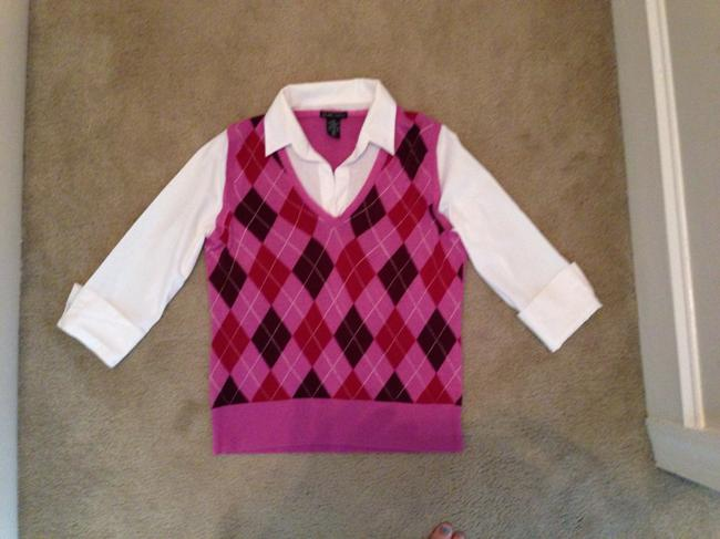 New York & Company Argyle Sweatervest Office Professional Cuffed Sleeves Soft Soft Sweater