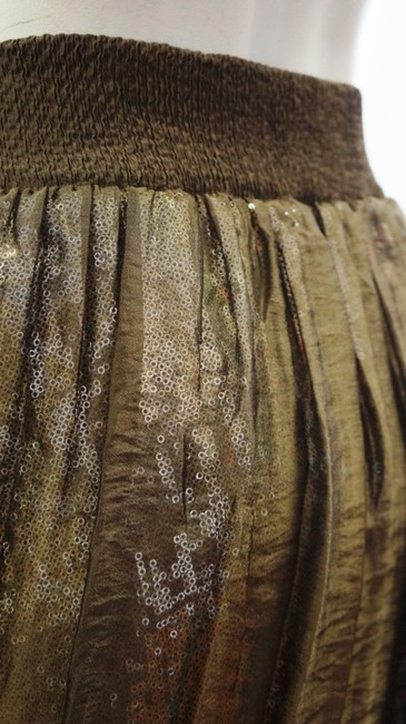 Lafayette 148 New York Green Sequined Mesh Pleated Balloon Bubble Elastic 14 L Xl Skirt Olive