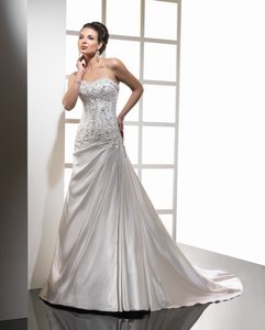 Sottero and Midgley Ivory with Pewter Accent Royal Satin Adara Feminine Wedding Dress Size 12 (L)