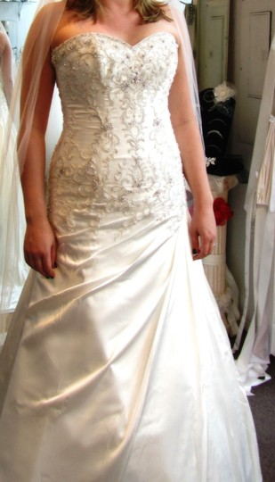 Sottero and Midgley Ivory with Pewter Accent Royal Satin Adara Feminine Dress Size 12 (L)