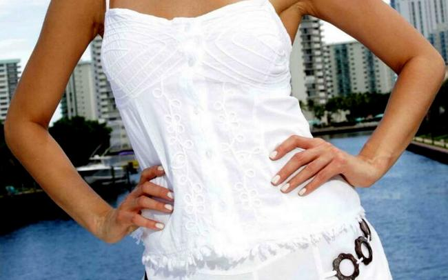 Lirome Embroidered Beach Summer Casual Top White