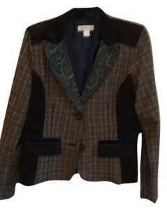 Christopher & Banks Plaid browns, turquise design collar, brown sweade trims Jacket