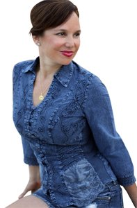 Lirome Lace Embroidery Western Boho Top Denim Blue