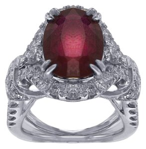 BRAND NEW, Women's 18K White Gold Diamond Ring with Ruby Gem