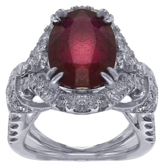 Other BRAND NEW, Women's 18K White Gold Diamond Ring with Ruby Gem