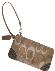 Coach Gold And Beige Wrist Strap Logo Attached Small Wristlet in Brown
