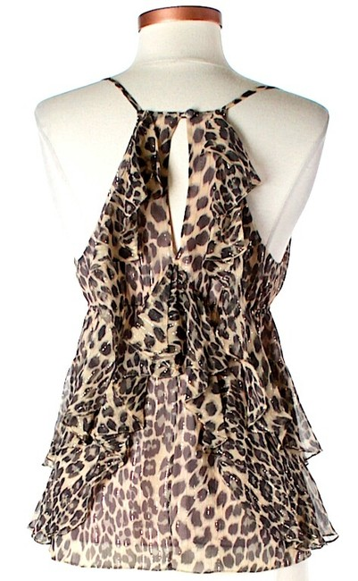 Rebecca Taylor Silk Animal Print Halter Tiered Ruffle Top