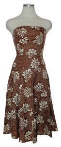 Anthropologie short dress Brown Strapless on Tradesy