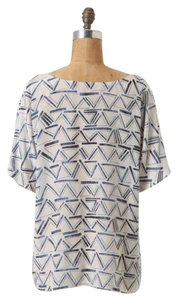 Anthropologie 100% Silk Dolman Top Blue