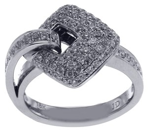 BRAND NEW, 18KT White Gold Buckle Pave Diamond Ring