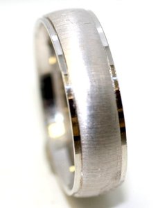 Bandolino White 6mm Gold Men's Wedding Band