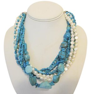 Other Silver Style Torsade Turquoise and Pearl Necklace