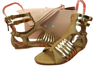 Miu Miu Camel/Gold Sandals
