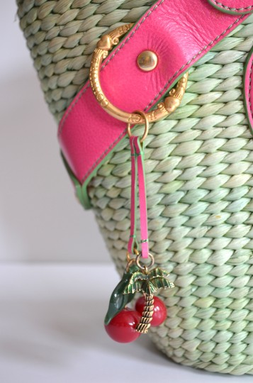 Juicy Couture Woven Picnic Light Hot Charms Embossed Leather Girly Satchel in Green, Pink