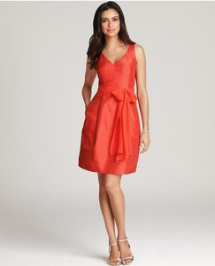 Ann Taylor Orange/Poppy Silk Traditional Bridesmaid/Mob Dress Size 4 (S)