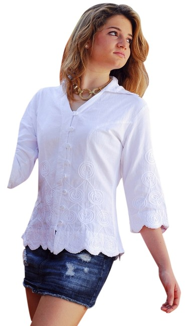 Lirome Embroidered Cottage Chic Organic Button Down Shirt white