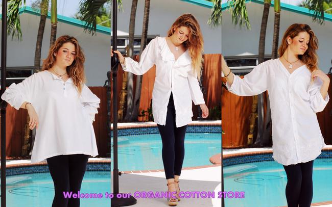 Lirome Embroidered Chic Cottage Button Down Shirt white