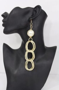 Women Gold Metal Chains Long Earrings Fashion Round Imitation Cream Pearls