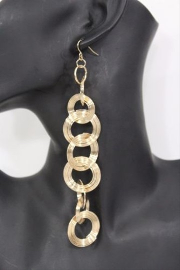 Other Women Slinky Earring Gold Silver Metal Chain Round Circles Hook