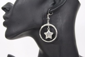Other Women Silver Metal Fashion Earrings Star Charm Rhinestones Round Hook Dangle