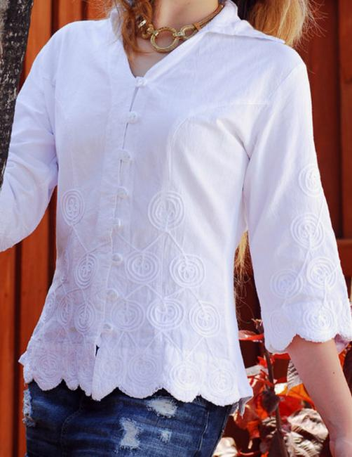Lirome Embroidered Boho Cottage Chic Button Down Shirt Various Colors