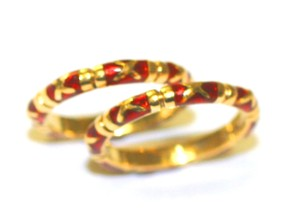 Red Enamel Set Guard Ringd