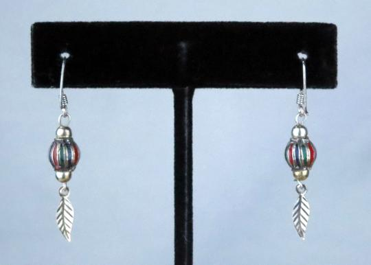 Other NEW * VINTAGE * 1980 * CLOISONEE BALL W/SINGLE FEATHER DANGLE