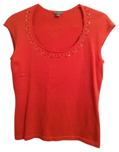 Ann Taylor 100% Cotton Beaded Top Orange with beading