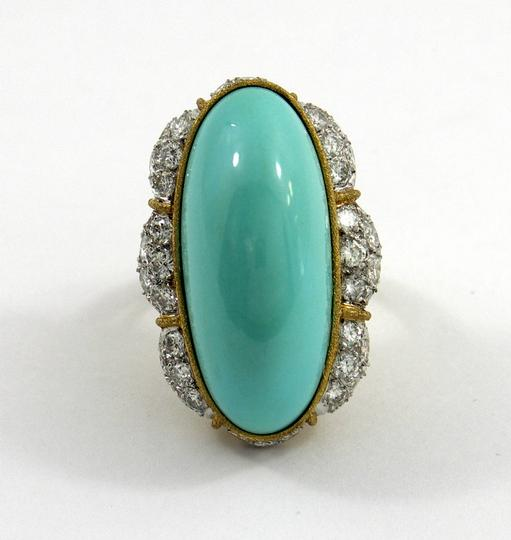 Other Elongated Turquoise Diamond Gold Cocktail Ring