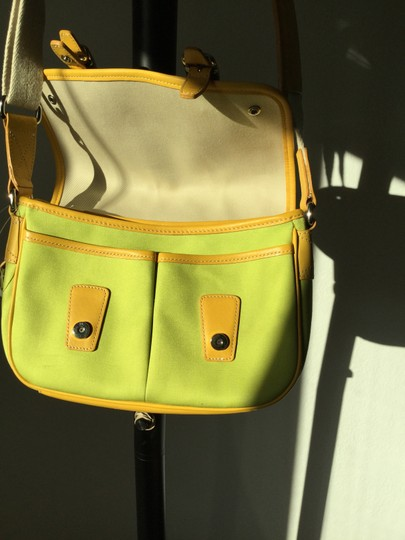 Coach New Lime Green Gold Trim Chrome Buckles Messenger Bag