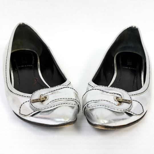 Fendi Ballet Chrome Ff Zucca Monogram Metallic Flats