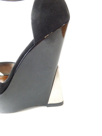 Giuseppe Zanotti Suede Leather Patent Patent Leather Black Wedges