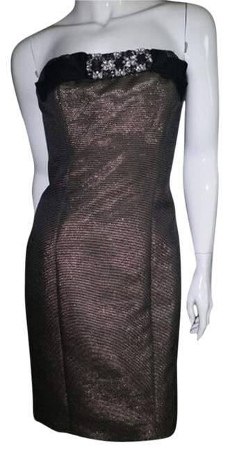 Badgley Mischka Metallic Rhinestone Bling Starpless Dress