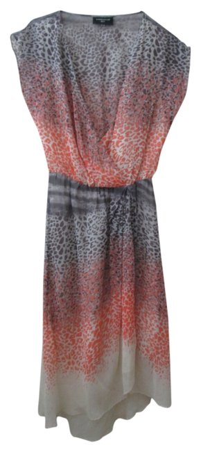 Other Animal Print Silk Tulip Faux Wrap Cap Sleeve Dress