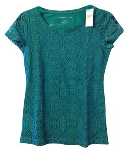 Van Heusen Lace Mesh Blouse Office Work Dressy T Shirt Teal