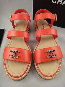 Chanel 15p Coral Leather Red Sandals