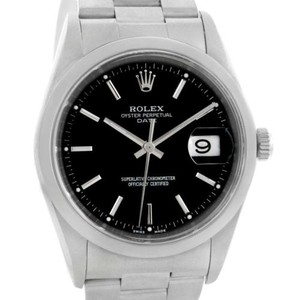 Rolex Rolex Date Stainless Steel Oyster Bracelet Black Dial Mens Watch 15200