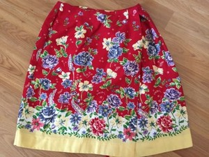 Talbots Wrap Flowers Bright Red Lined Lovely Skirt Multi-Color