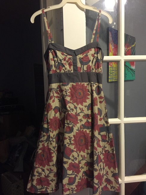 Modcloth short dress Beige Floral A-line Retro Pin-up Vintage on Tradesy