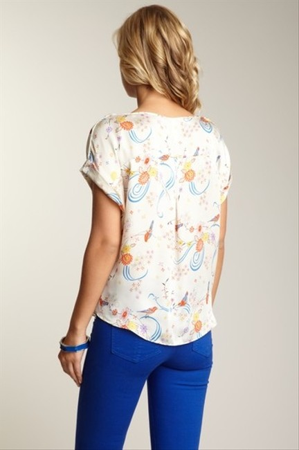 Anthropologie Printed Willow & Clay Floral Bird Relaxed Boxy Top MULTI COLOR