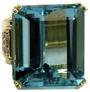 62.88 Carat Aquamarine Diamond Gold Cocktail Ring
