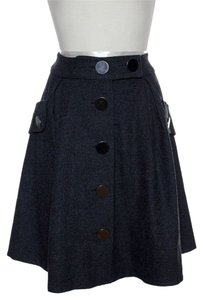 Elevenses Button Front Pleated Skirt Gray