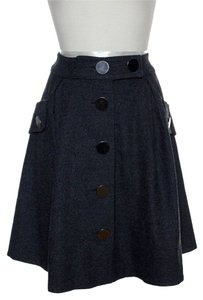 Anthropologie Button Front Pleated Skirt Gray